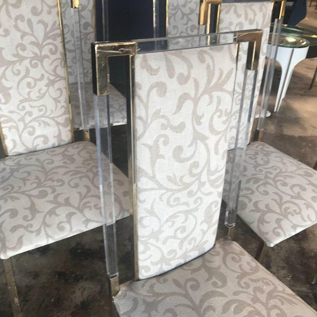 Italian Italian 1960s Set of Six Chairs in Brass and Plexiglass For Sale - Image 3 of 7