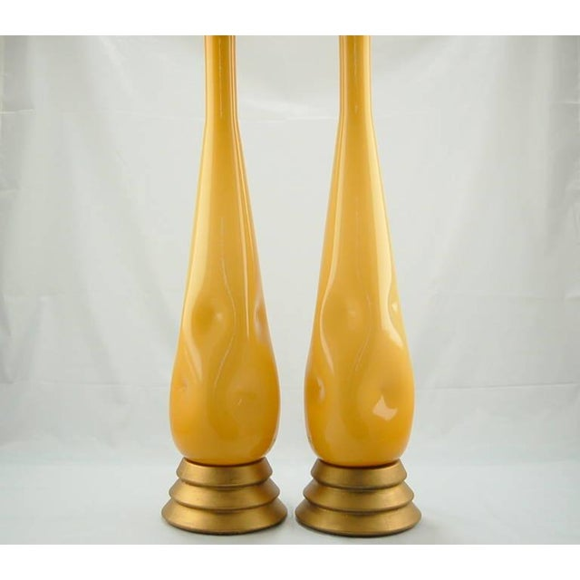 Hollywood Regency Vintage Murano Glass Table Lamps Butterscotch For Sale - Image 3 of 9