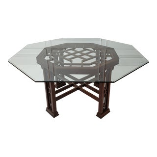Chinoiserie Octagonal Glass Top Dining Table For Sale