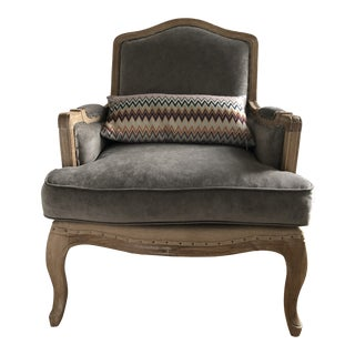 Vintage French Louis XIII Velvet Club Chair in Faded Green For Sale