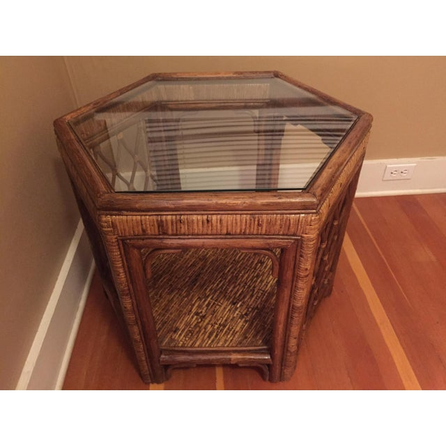 Boho Woven Rattan Side Table - Image 7 of 7