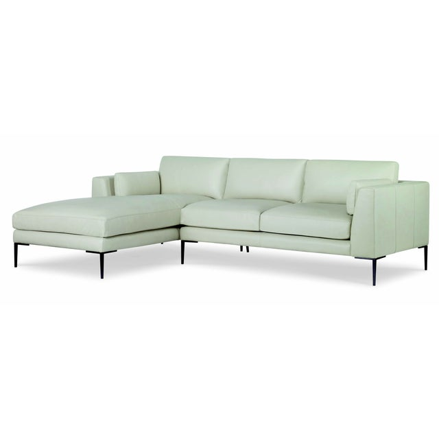 Traditional Century Furniture Evandale Two Piece Sectional, Dove Leather For Sale - Image 3 of 3