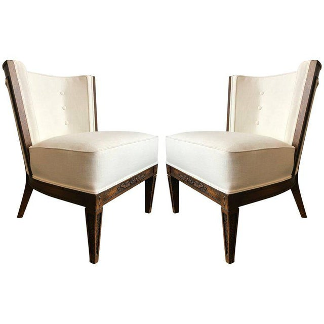 Linen Pair of Romweber Side Chairs For Sale - Image 7 of 7