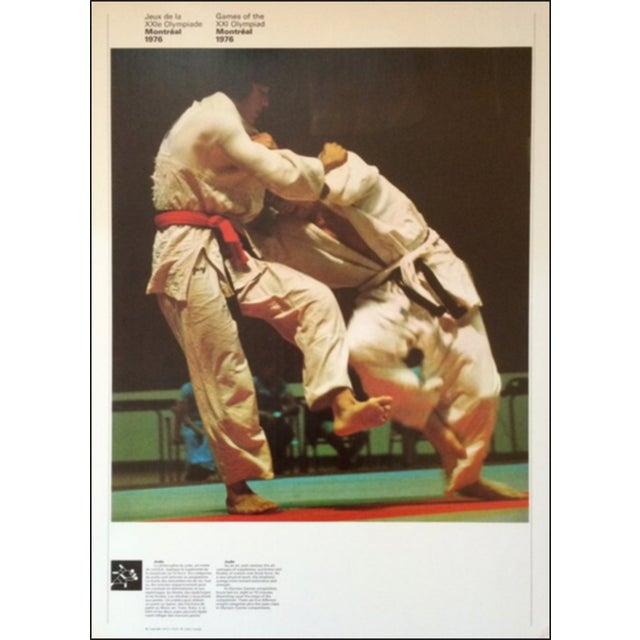 Figurative 1976 Montreal Olympic Poster, Double-Sided, Judo/Swimming - Cojo For Sale - Image 3 of 3