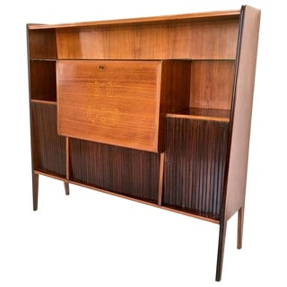 Majestic Wood, Crystal and Mirror Bar Cabinet, Italy, 1950s For Sale