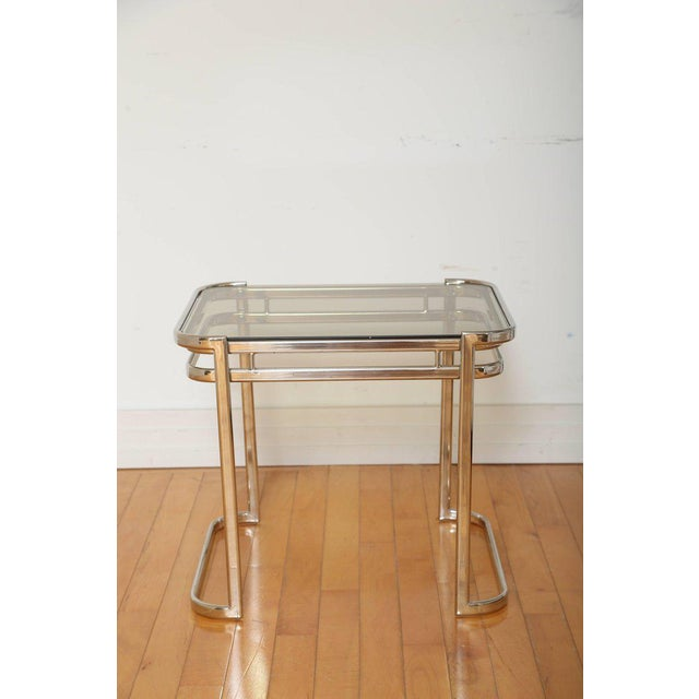 Pair of Italian Mid-Century Modern Chrome Side Tables For Sale In New York - Image 6 of 12