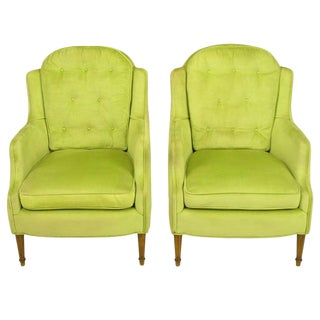 Pair of Chartreuse Yellow-Green Velvet Regency Lounge Chairs For Sale