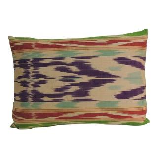 Antique Colorful Silk Ikat Decorative Lumbar Pillow For Sale
