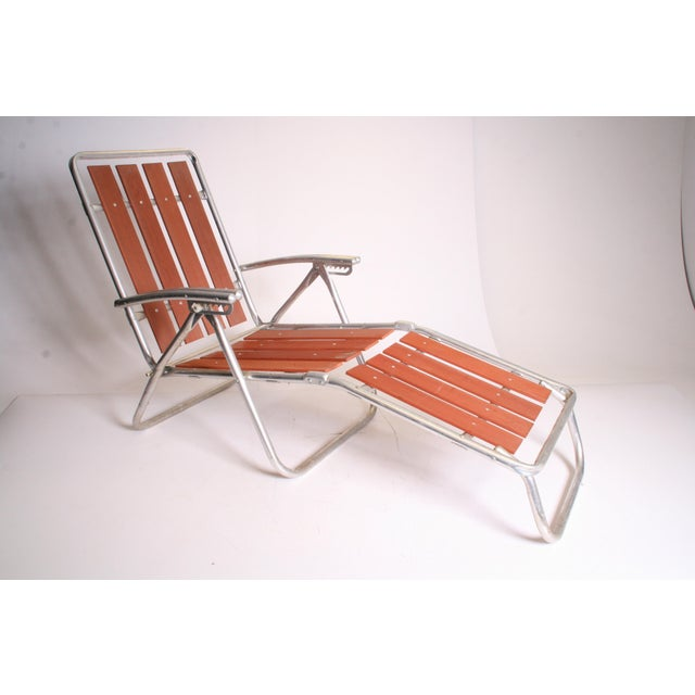 Vintage Mid Century REDWOOD FOLDING CHAIR. Beautiful redwood slat lounge chair. Double barrel armrests. Has different...