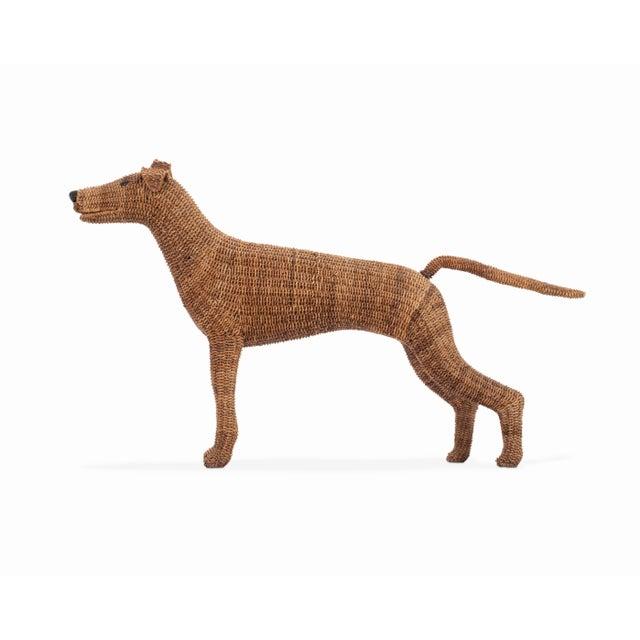 Vintage Wicker Figurine Dog For Sale - Image 4 of 7