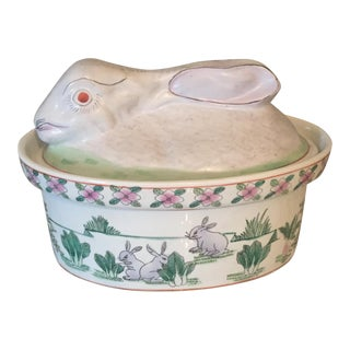 Vintage Chinoiserie Rabbit Tureen Casserole Dish For Sale