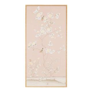 "Jardins en Fleur ""Pavenham Court"" Chinoiserie Hand-Painted Silk Panel For Sale"