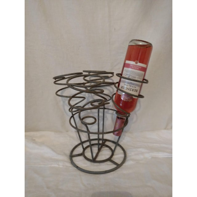 French Spiral Gray Metal Wine Rack Holder For Sale - Image 3 of 5
