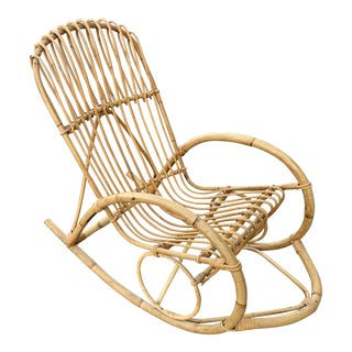 1950s Vintage Franco Albini Style Bamboo Rocking Chair For Sale