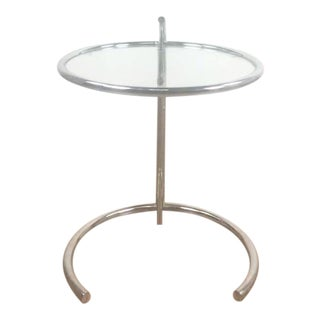 Eileen Gray Chrome and Glass Adjustable Side Table
