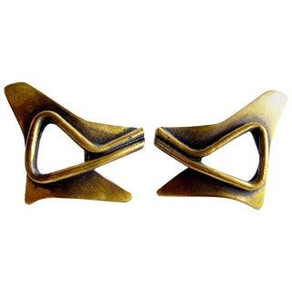 Art Smith American Modernist Brass Earrings For Sale