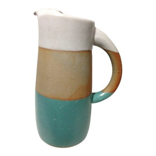 Mid 20th Century David Gil For Bennington Pottery Banded Pitcher For Sale