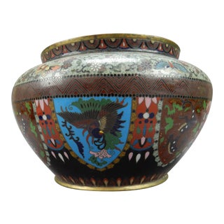 Antique Meji Period Japanese Cloisonne Vase/ Jardiniere 9 Inches For Sale