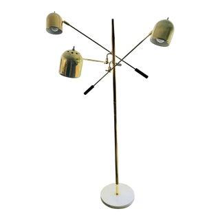 Mid Century Italian Brass Floor Lamp Reggiani Era