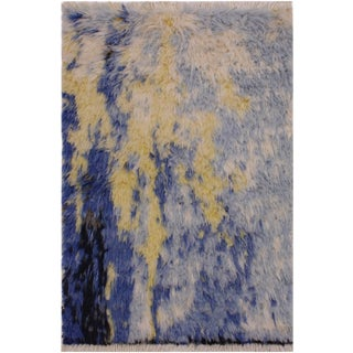 Moroccan Art Blue Wool Rug - 2′1″ × 3′3″ For Sale