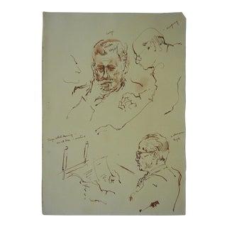 Original Vintage Drawing-David Fredenthal U.N.Suez Crisis-Henry Cabot Lodge u.s. Delegate For Sale