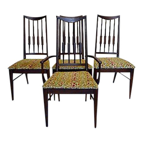 Mid-Century Reed-Back Dining Chairs - Set of 4 For Sale