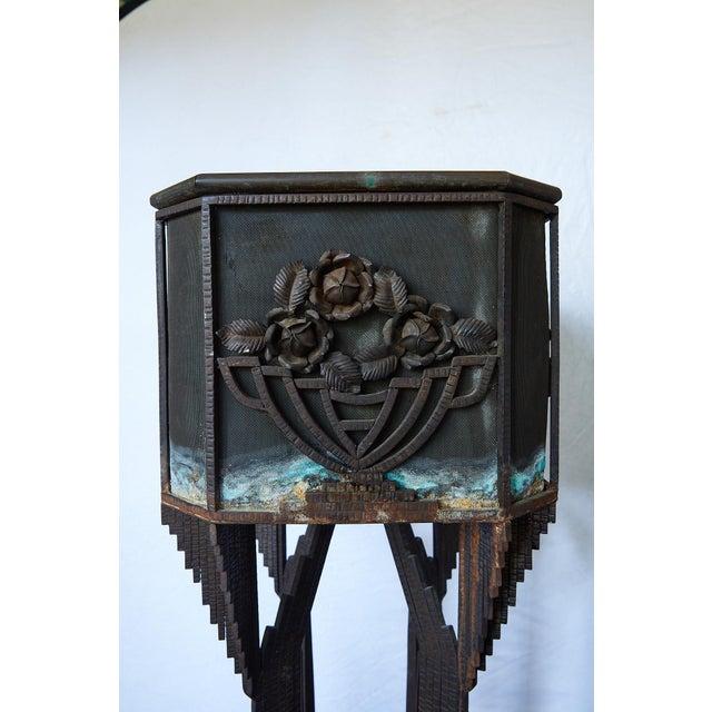 Metal Art Deco Iron Pedestal Planter For Sale - Image 7 of 13