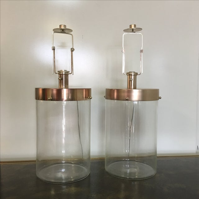 Glass & Nickel Table Lamps - A Pair - Image 2 of 8