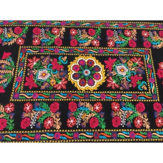 Boho Chic Velvet Embroidery Suzani Fabric With Colorful Floral Patterns Preview