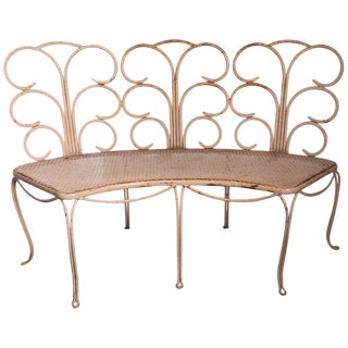 1960s French Wrought Iron Garden Bench For Sale