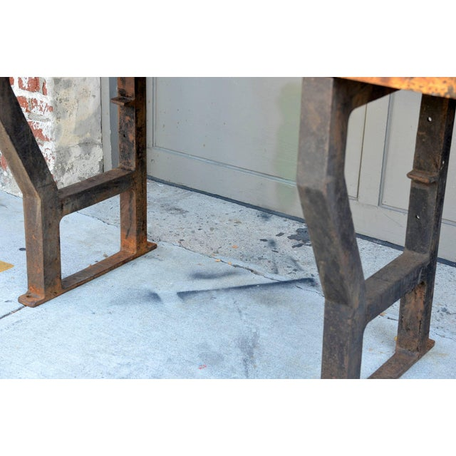 1920s Massive Patinated Industrial Console For Sale - Image 4 of 9