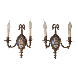 1900 Sevres Style Hand-Painted Floral Bronze Bows Sconces For Sale