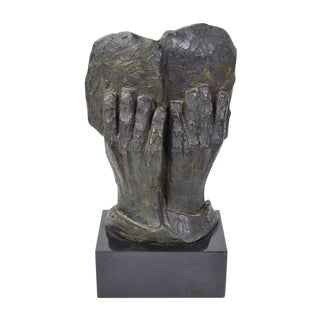 1960s Vintage Judaica Two Hands Holding Stone Tablet Bronze Sculpture For Sale