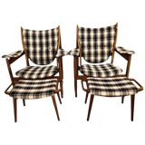 Image of Pair of Mid-Century Modern Style Plaid Fabric Lounge Chairs With Ottomans For Sale