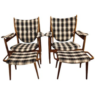 Pair of Mid-Century Modern Style Plaid Fabric Lounge Chairs With Ottomans For Sale