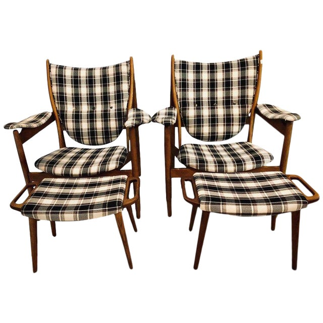 Image of Pair of Mid-Century Modern Style Plaid Fabric Lounge Chairs With Ottomans