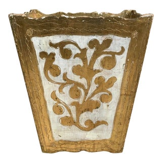Vintage Florentine Gilt Wood Wastebasket For Sale