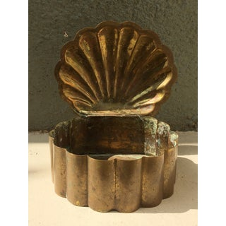 1960s s.e Asian / Indian Brass Shell Trinket Box With Heavy Patina Preview