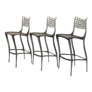Dan Johnson Sol Y Luna Aluminum Bar Stools - Set of 3 For Sale