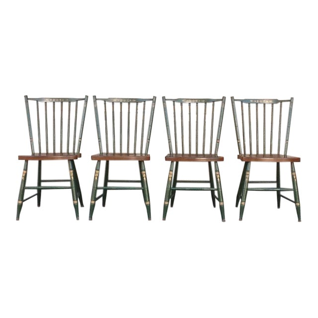 Vintage Hitchcock Windsor Style Stick Back Chairs - Set of 4 For Sale