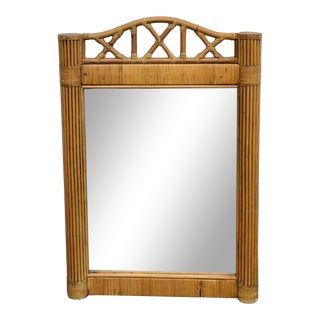 Vintage Pencil Reed Rattan Framed Wall Mirror For Sale