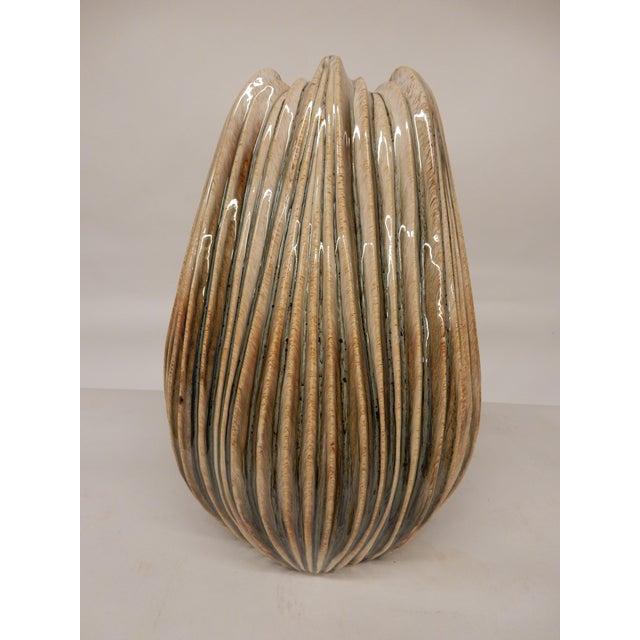 Contemporary Italian Ridged Ceramic Vase For Sale - Image 4 of 4
