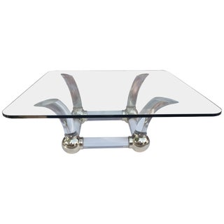 Lucite Sabre Leg and Brass Coffee Table For Sale