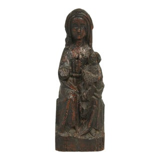 Antique Late 1600s Spanish Wood Carved Woman and Child Sculpture For Sale