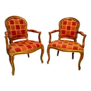 19th Century Venetian Louis XV Style Painted and Gilt Armchairs- A Pair For Sale