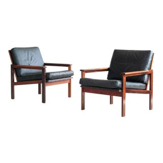 Pair of Danish Easy Chairs Model Capella in Rosewood and Leather by Illum Wikkelsø For Sale