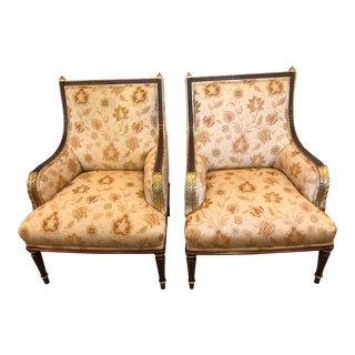 1990s Vintage Carved Gilded Wood and Upholstered French Bergeres- A Pair For Sale