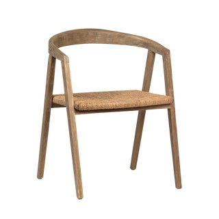 Horseshoe Wood & Rattan Chair For Sale