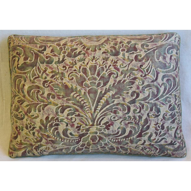 """Custom-tailored pillow in Italian Mariano Fortuny cotton fabric called """"Caravaggio"""" in a beautiful colorway. The design..."""
