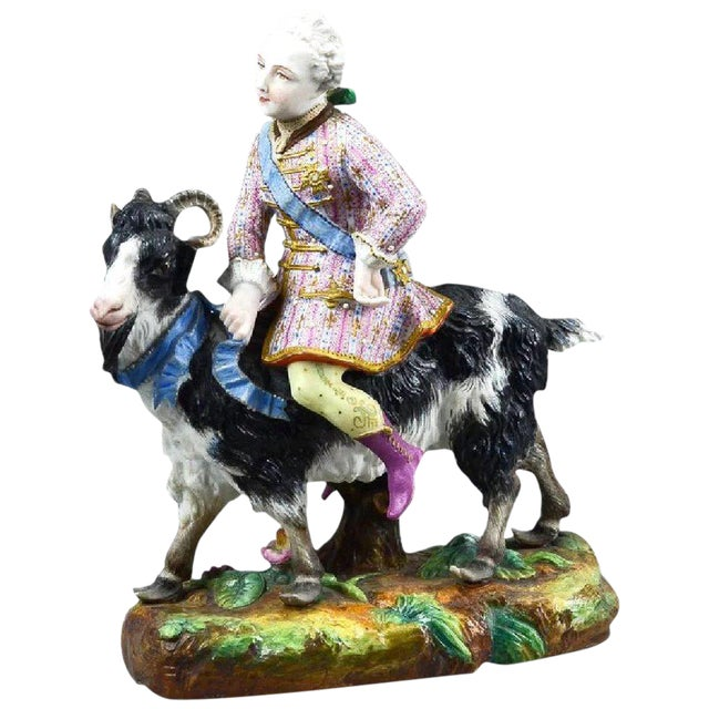 Vion Et Baury Count Bruhl's Tailor, Bisque Porcelain Goat and Rider Figurine For Sale
